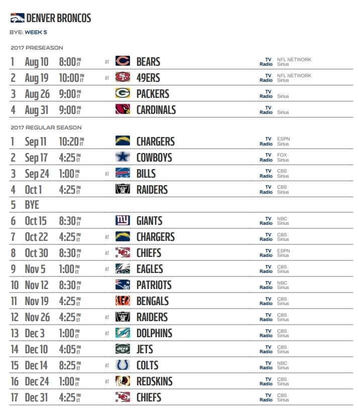 Denver Broncos 2017 Team, Schedule, Live Stream, Apps