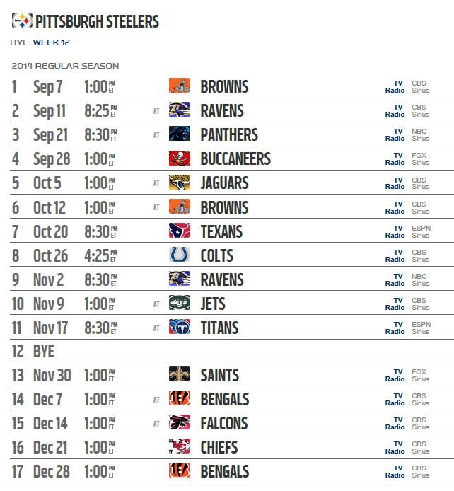 Pittsburgh steelers 2015 schedules live stream app ticket - Steelers schedule 2014 printable ...