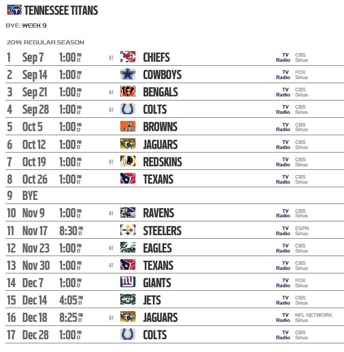 Tennessee Titans 2015 Team Schedule Live Stream Score