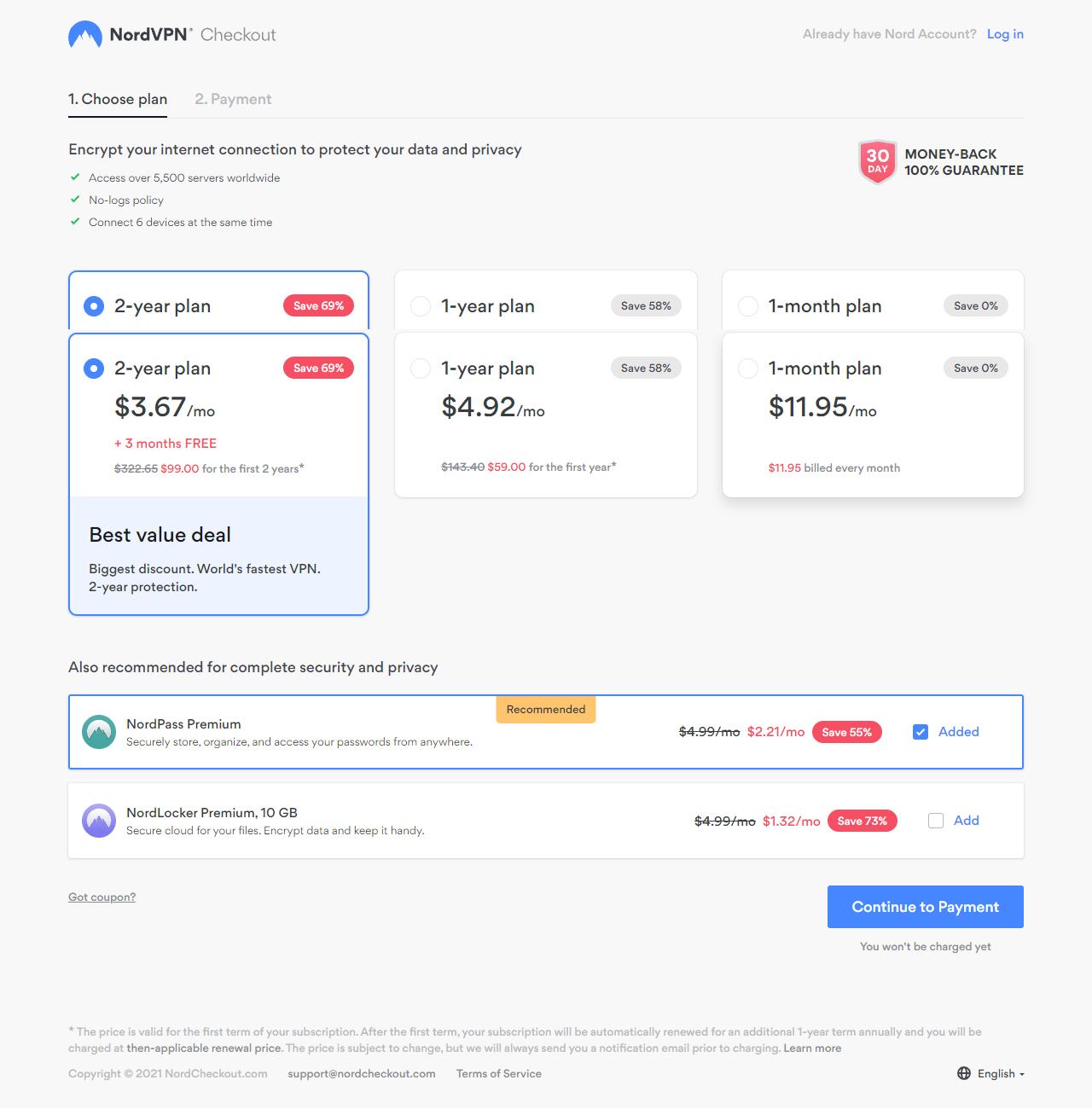 Nord VPN Plan Compare