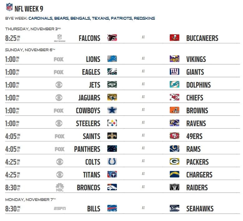 NFL 2016 Regular Season Week 9 Schedule