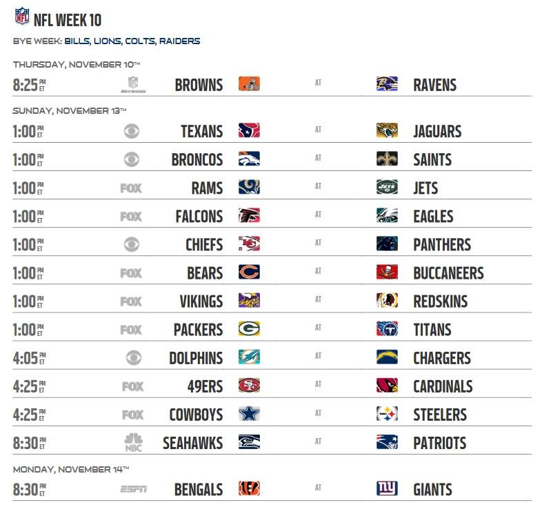 NFL 2016 Regular Season Week 10 Schedule