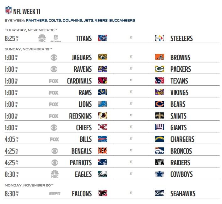 Nfl 2017 Schedule Week 11 Regular Season