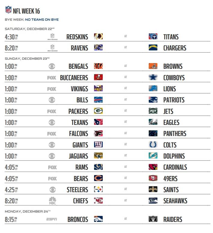 NFL 2018 Schedule Week 16 Regular Season