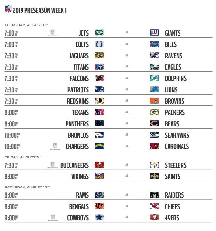NFL 2019 Preseason Week 1 Schedule