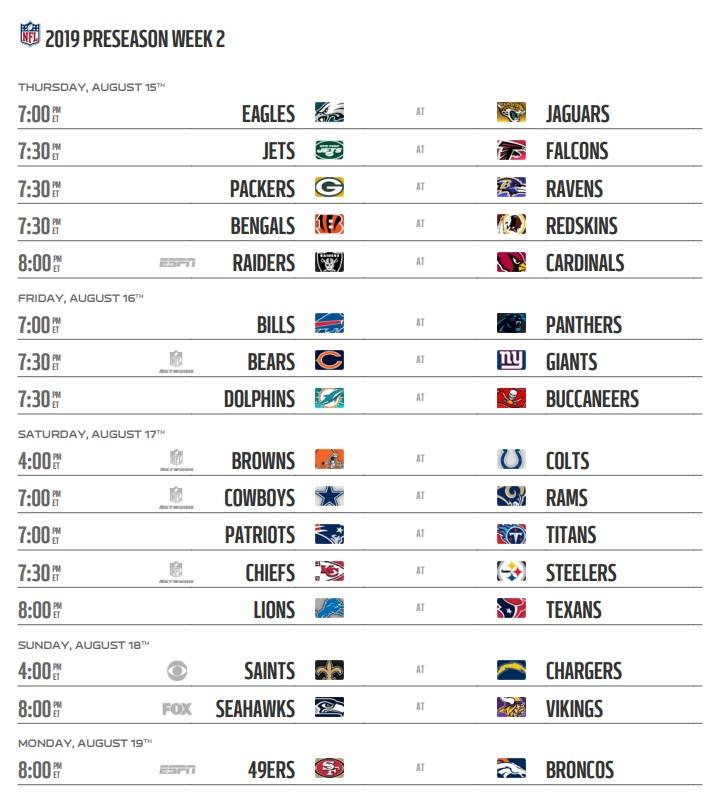 NFL 2019 Preseason Week 2 Schedule
