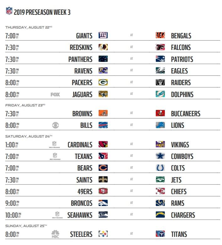 NFL 2019 Preseason Week 3 Schedule