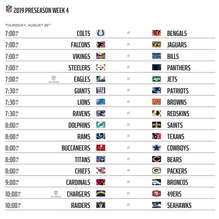 NFL 2019 Preseason Week 4 Schedule