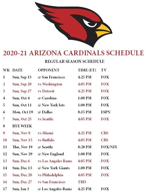 Arizona Cardinals 2020 NFL game schedule