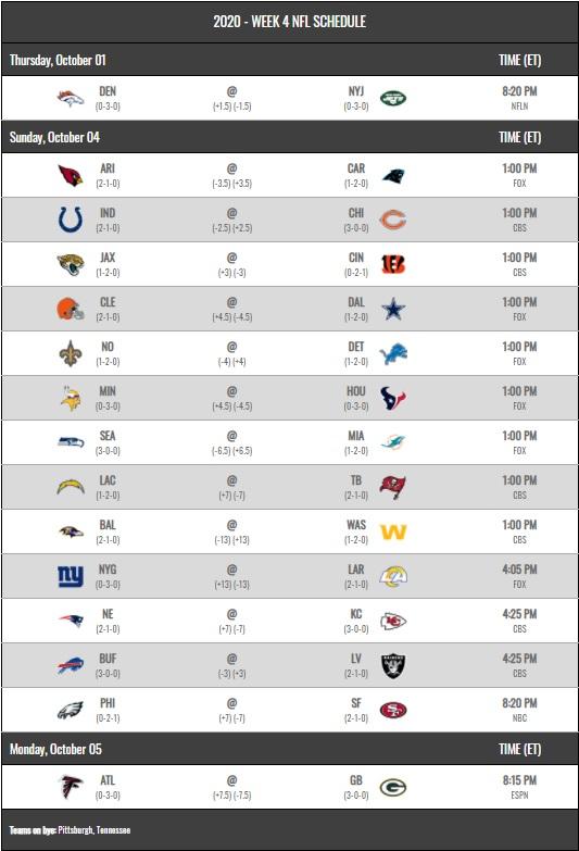 NFL 2020 schedule week 4