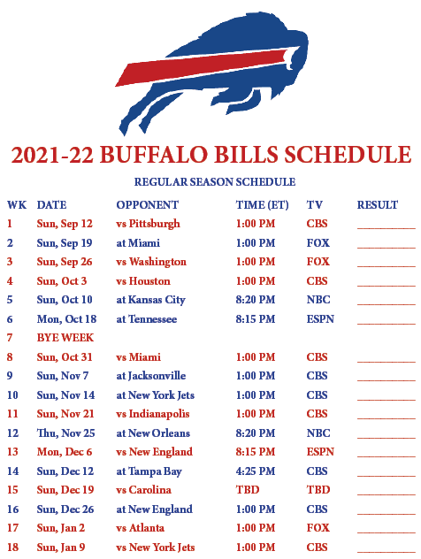 2021-2022 Buffalo Bills Schedule